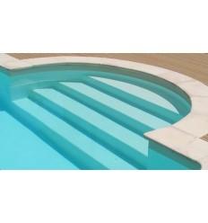 margelles de piscine courbe complet avec rayon 150 cm en pierre naturelle de bourgogne vieillie